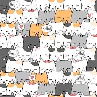 Niedliche hand zeichnung katze kätzchen cartoon gekritzel nahtloses muster