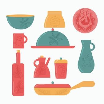 Niedliche handgemachte keramikkollektion küchenutensilien mit weihnachtsdekoration