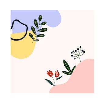 Niedliche handgezeichnete abstrakte formen, blumen, grüne blätter. gemütliche hygge-vorlage im skandinavischen stil für postkarte, poster, grußkarte, kinder-t-shirt-design. vektorillustration im flachen cartoon-stil