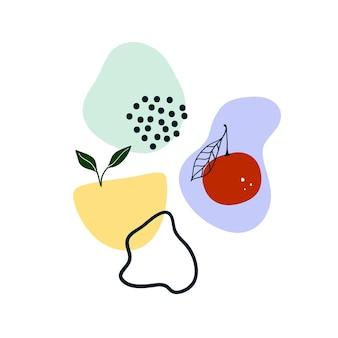 Niedliche handgezeichnete abstrakte formen, obst, grüne blätter. gemütliche hygge-vorlage im skandinavischen stil für postkarte, poster, grußkarte, kinder-t-shirt-design. vektorillustration im flachen cartoon-stil