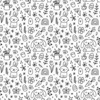 Niedliche handgezeichnete doodle ostern nahtlose muster mit hasen, blumen, ostereier. schöner schwarz-weißer hintergrund für karten, banner, textilien