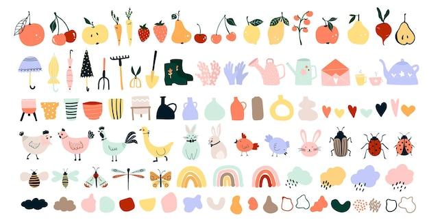 Niedliche handgezeichnete frühlingssymbole, gartengeräte, obst, gemüse, hühner, hasen, bienen, schmetterlinge. gemütlicher skandinavischer hygge-stil für postkarten, grußkarten. vektorillustration im flachen cartoon-stil
