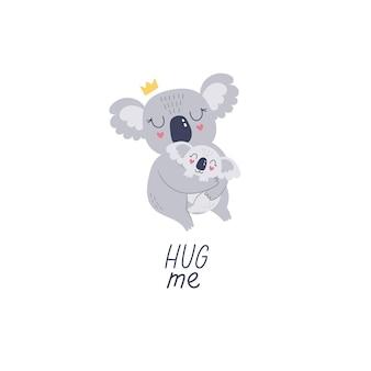 Niedliche handgezeichnete koala-mutter und baby-cartoon-vektor-illustration für den druck