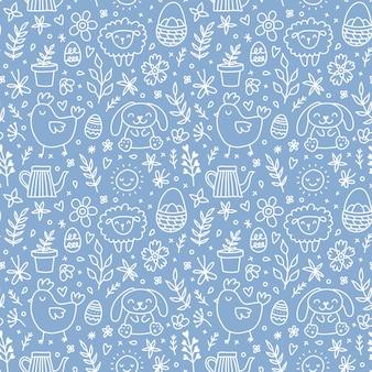 Niedliche handgezeichnete ostern nahtlose muster mit hasen, blumen, ostereier. schöner blau-weißer hintergrund für karten, banner, textilien