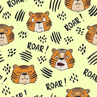 Niedliche handgezeichnete tiger baby nahtlose muster brüllen gekritzel kindergarten tapete design kinder und baby t ...