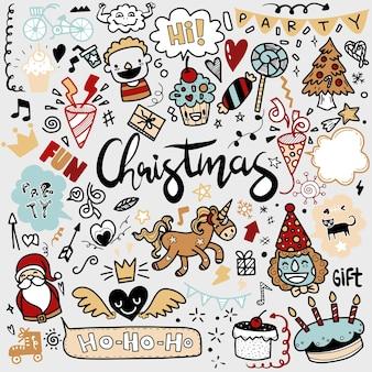 Niedliche handgezeichnete weihnachtskritzeleien, satz des weihnachtsgestaltungselements im gekritzelstil, skizzenhafter handgezeichneter gekritzelkarikatursatz von objekten auf dem thema frohe weihnachten, jeweils auf einer separaten ebene.