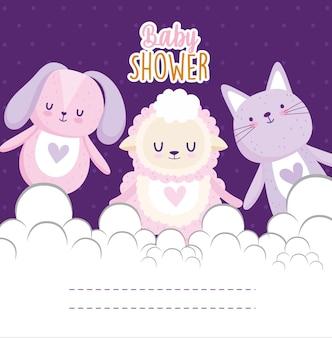 Niedliche hasen-katzenschaf-tiervektorillustration der babypartyeinladungskarte