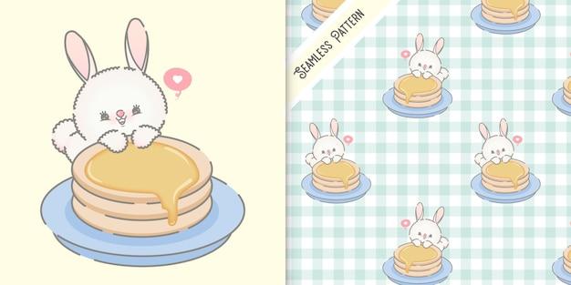 Niedliche hasen- und pfannenkuchenillustration mit nahtlosem muster