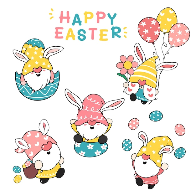 Niedliche hasenohren gnom happy easter pastell cartoon illustration