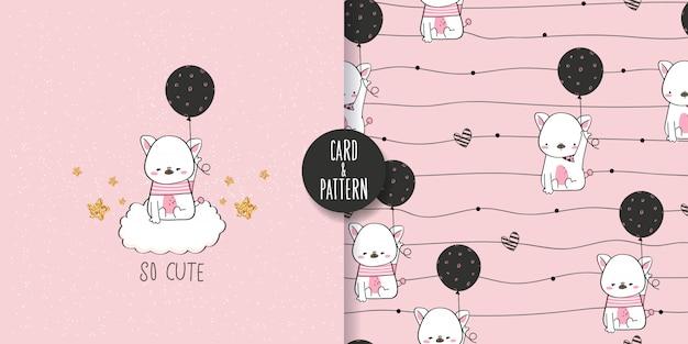 Niedliche haustierzeichnungen hand gezeichnetes haustier halten eines ballons in der hand tragen eines einfachen gemusterten kostüms gesten lustiges und lustiges buntes gesichtslächeln im nahtlosen muster und in der illustration