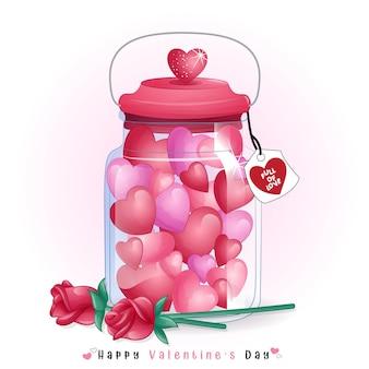Niedliche herzform süßigkeiten innerhalb der flasche für valentinstag