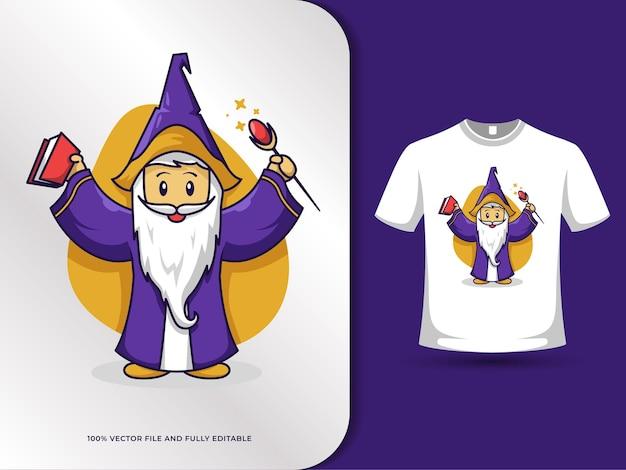 Niedliche hexe tragen buch und zauberstab cartoon illustration mit t-shirt design-vorlage