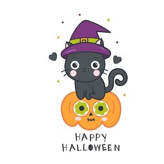 Niedliche hexenkatze halloween auf kürbiskarikatur