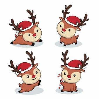 Niedliche hirsch cartoon rentier frohe weihnachten