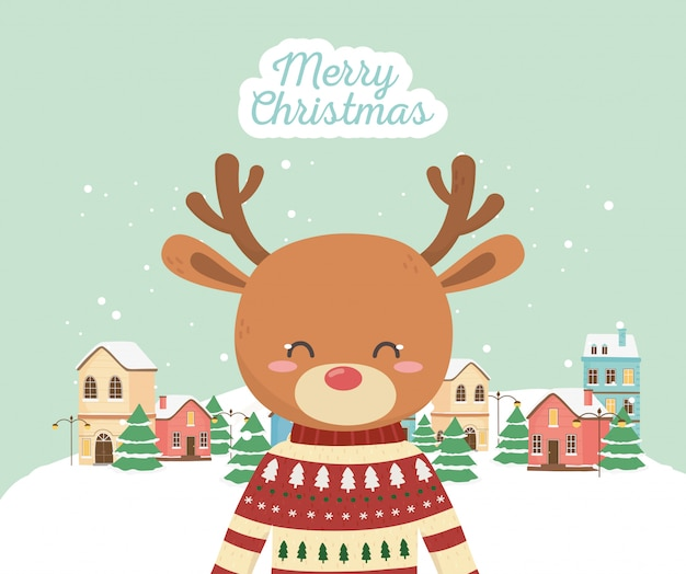 Niedliche hirsche der frohen weihnachtsfeier mit pulloverstadtschnee
