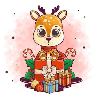 Niedliche hirschkarikatur feiern weihnachten