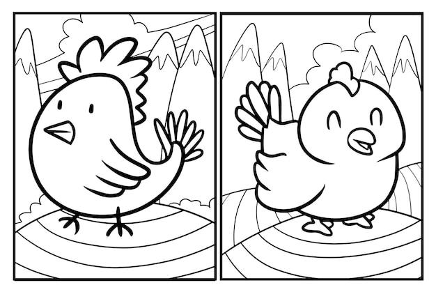 Niedliche hühner-cartoon-malvorlagen