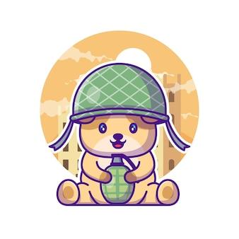 Niedliche hundesoldat-armee-karikatur-illustration