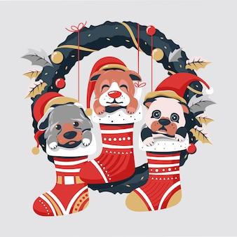 Niedliche hundeweihnachtssaison mit kranzhintergrund