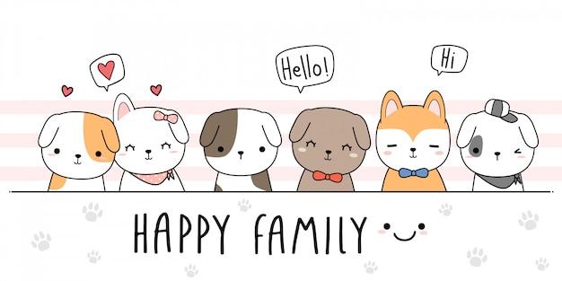 Niedliche hundewelpen-familienkarikatur