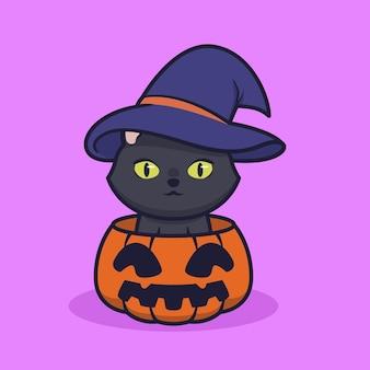Niedliche illustration der schwarzen katze mit hexenhut