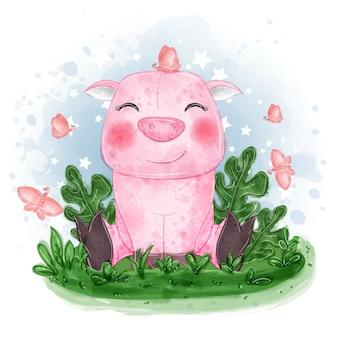 Niedliche illustration des babyschweins setzen sich auf das gras mit schmetterling