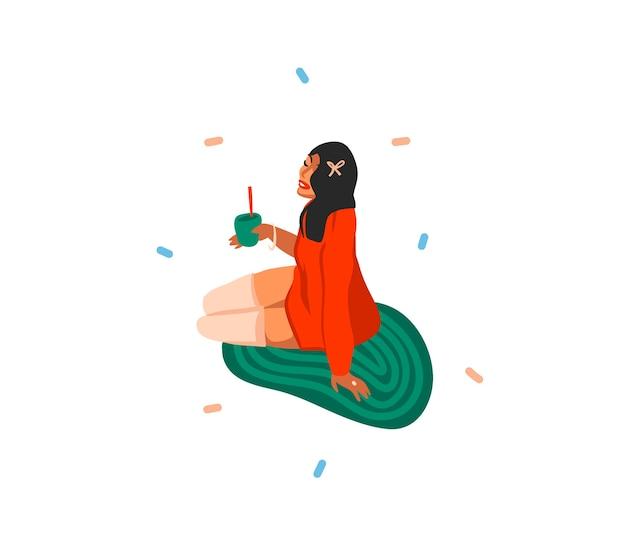 Niedliche illustrationen des mädchens trinkt feiertagsweihnachtscocktails isoliert