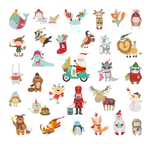 Niedliche illustrationen von weihnachtsfiguren