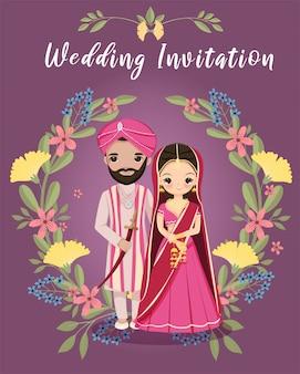 Niedliche indische braut und bräutigam mit blumenkranz für hochzeitseinladungskarte