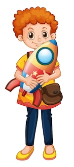 Niedliche junge zeichentrickfigur, die ein raketenschiff hält a