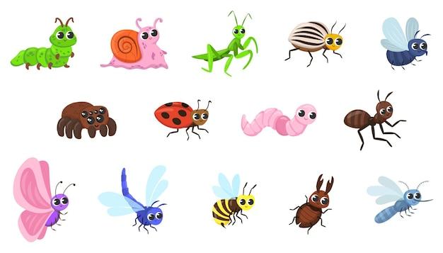 Niedliche käfer-cartoon-figuren-illustrationen eingestellt