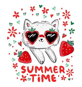 Niedliche kätzchen und erdbeervektorillustration handgezeichnete sommertrend-druckskizze katze