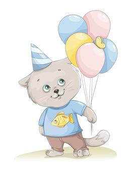Niedliche kätzchenkarikaturfigur, die luftballons hält