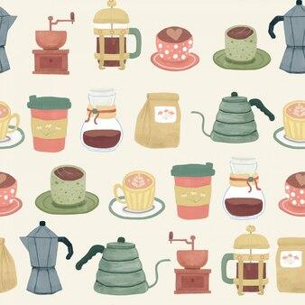 Niedliche kaffeewerkzeugausrüstung gesetzt im weinlese-retro-stil mit nahtlosem aquarelltextur-zeichnungsmuster