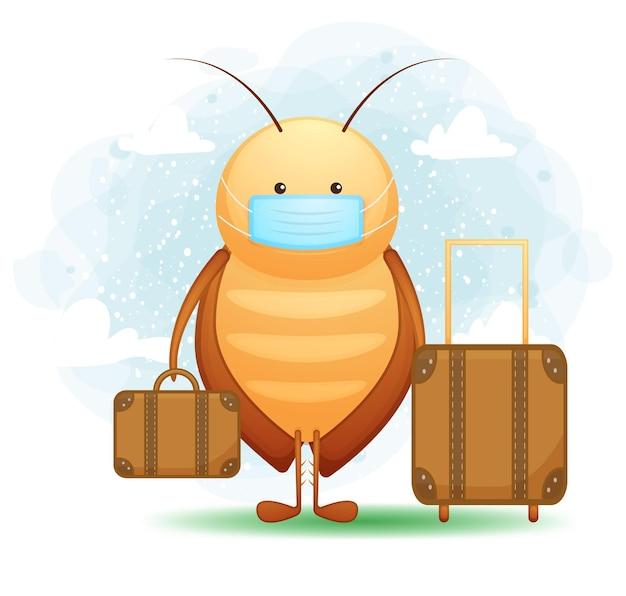 Niedliche kakerlake reisende zeichentrickfigur