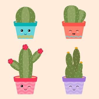Niedliche kaktus-sammlung