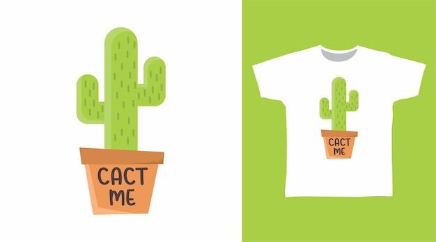 Niedliche kaktus-typografie für t-shirt-design