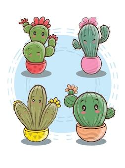 Niedliche kaktus-zeichentrickfigur