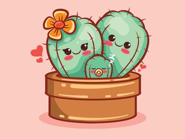 Niedliche kaktusfamilie zeichentrickfigur und illustration.