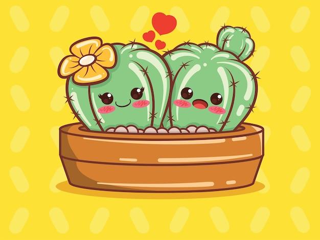 Niedliche kaktuspaar-zeichentrickfigur und illustration.