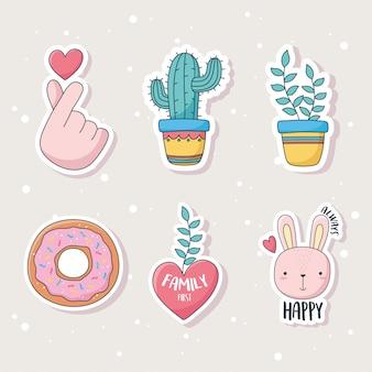 Niedliche kaktuspflanze kaninchen-donut und herz zeug für kartenaufkleber oder patches dekoration cartoon