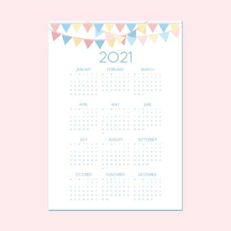 Niedliche kalendervorlage, jahreskalender mit festlichem partydekorationsthema, kalender