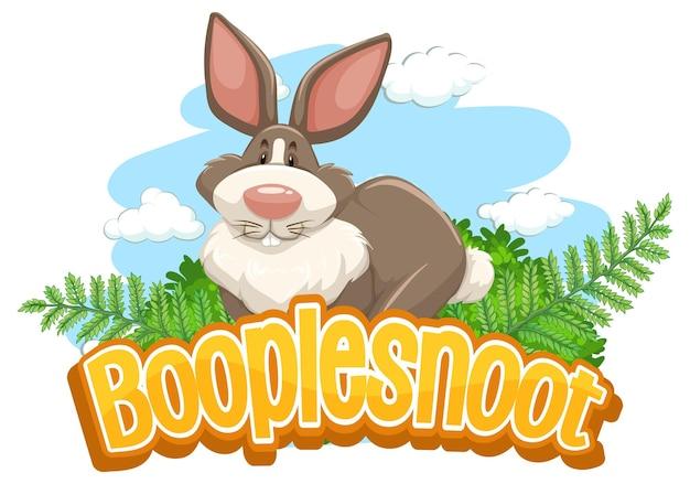 Niedliche kaninchen-cartoon-figur mit booplesnoot-schriftart-banner isoliert