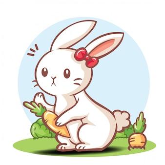 Niedliche kaninchen-cartoon-figur.