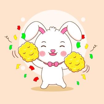 Niedliche kaninchen-cheerleader-charakter-cartoon-illustration