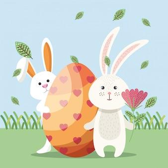Niedliche kaninchen glücklich ostern karte