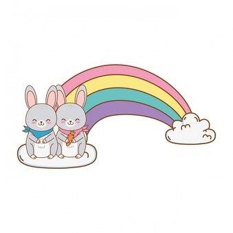 Niedliche kaninchen in den wolken mit regenbogenwaldcharakter