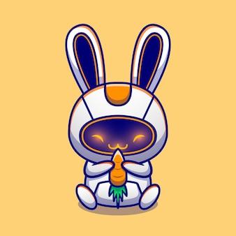 Niedliche kaninchen-roboter-umarmungs-karotten-cartoon-figur. tiertechnologie isoliert.