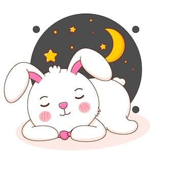 Niedliche kaninchen schlafende cartoon-illustration