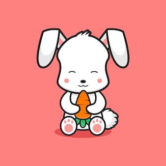 Niedliche kaninchen sitzen mit karottenkarikatur-ikonenillustration. entwerfen sie isolierte flache cartoons-stil